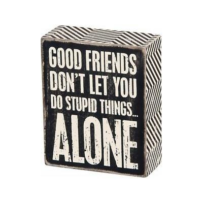 Good Friends Wood Block Sign / Black