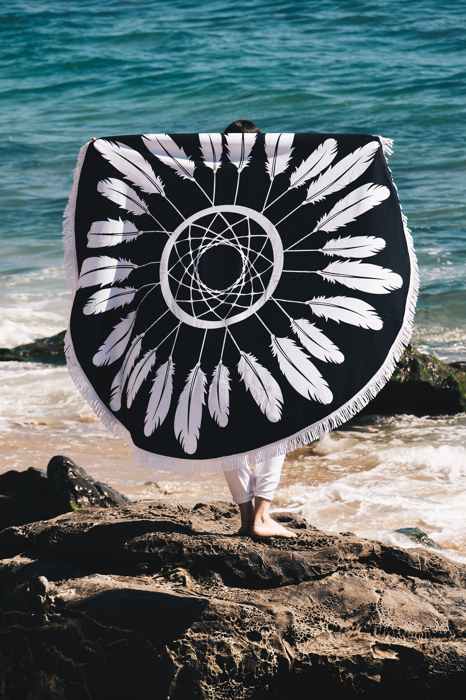Dream Catcher Round Towel / Black