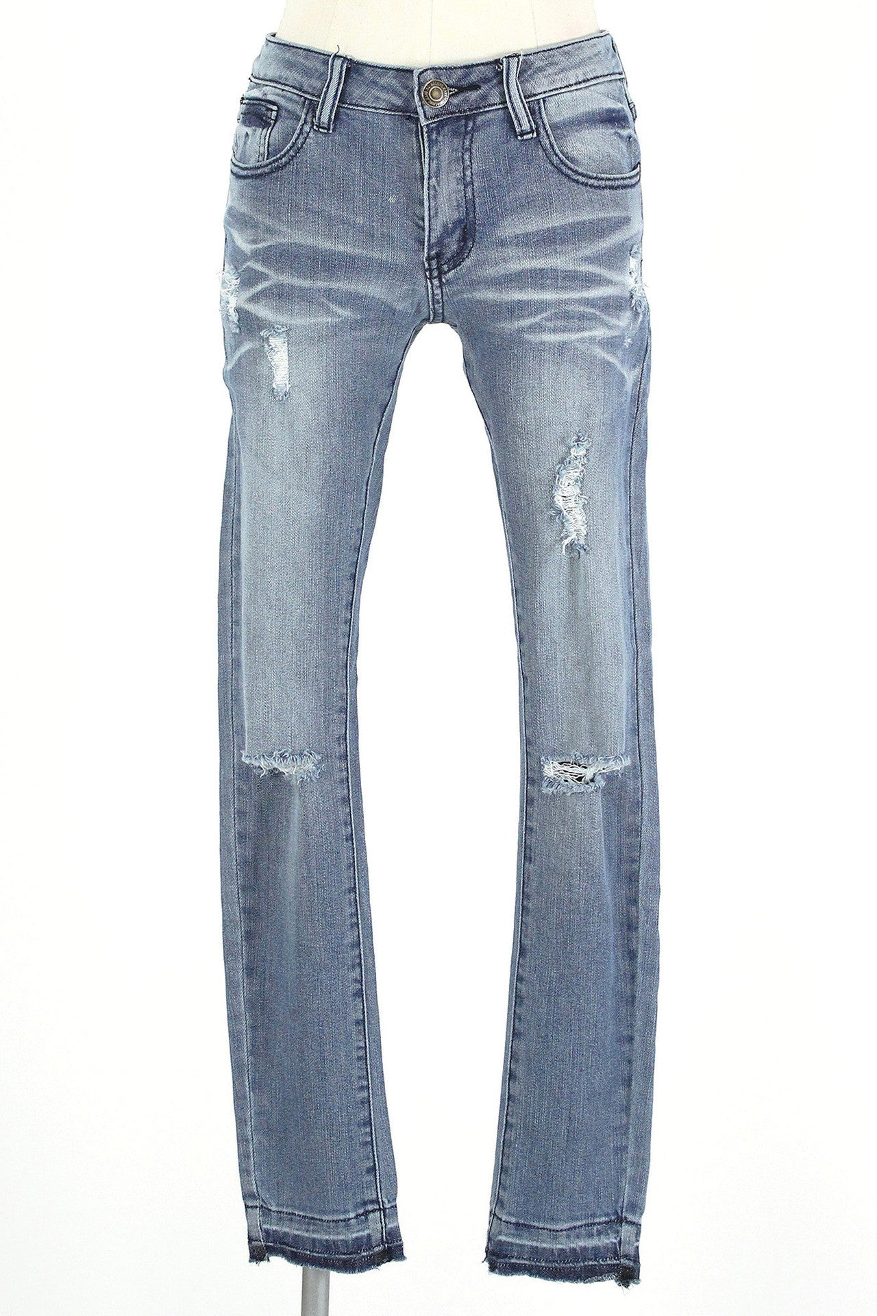 Slit Knee Released Hem Ankle Jean / Medium Wash