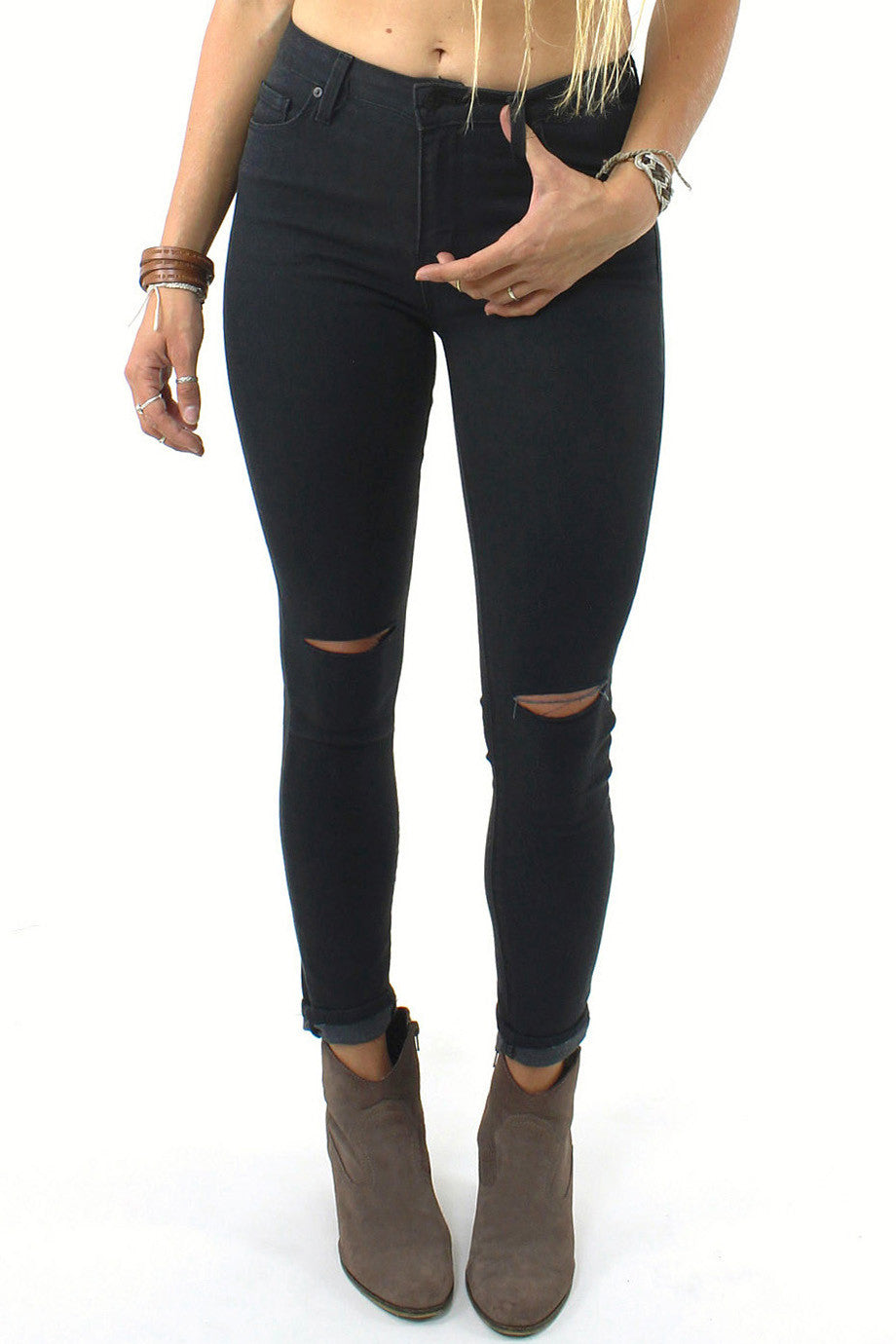 Slit Knee 9 Inch High Rise Skinny Jean / Black