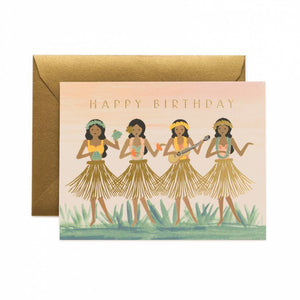 Hula Birthday Card / Gold Envelope