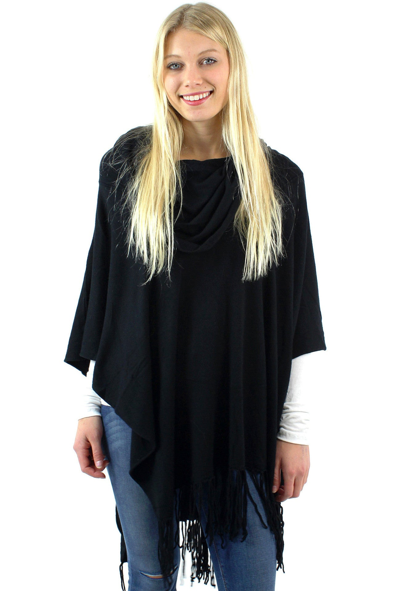Soft Poncho Sweater w/ Fringe / Black