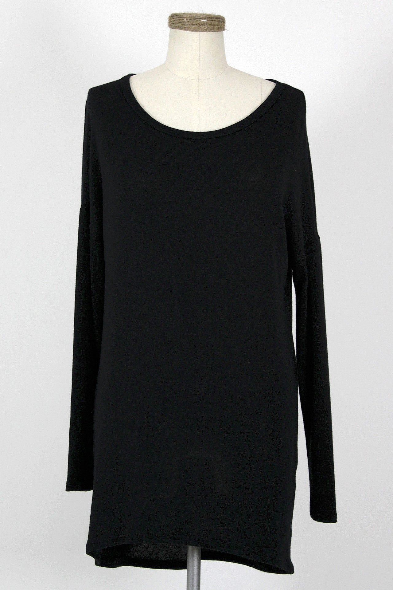 Heather Long Sleeve Loose Tunic / Black
