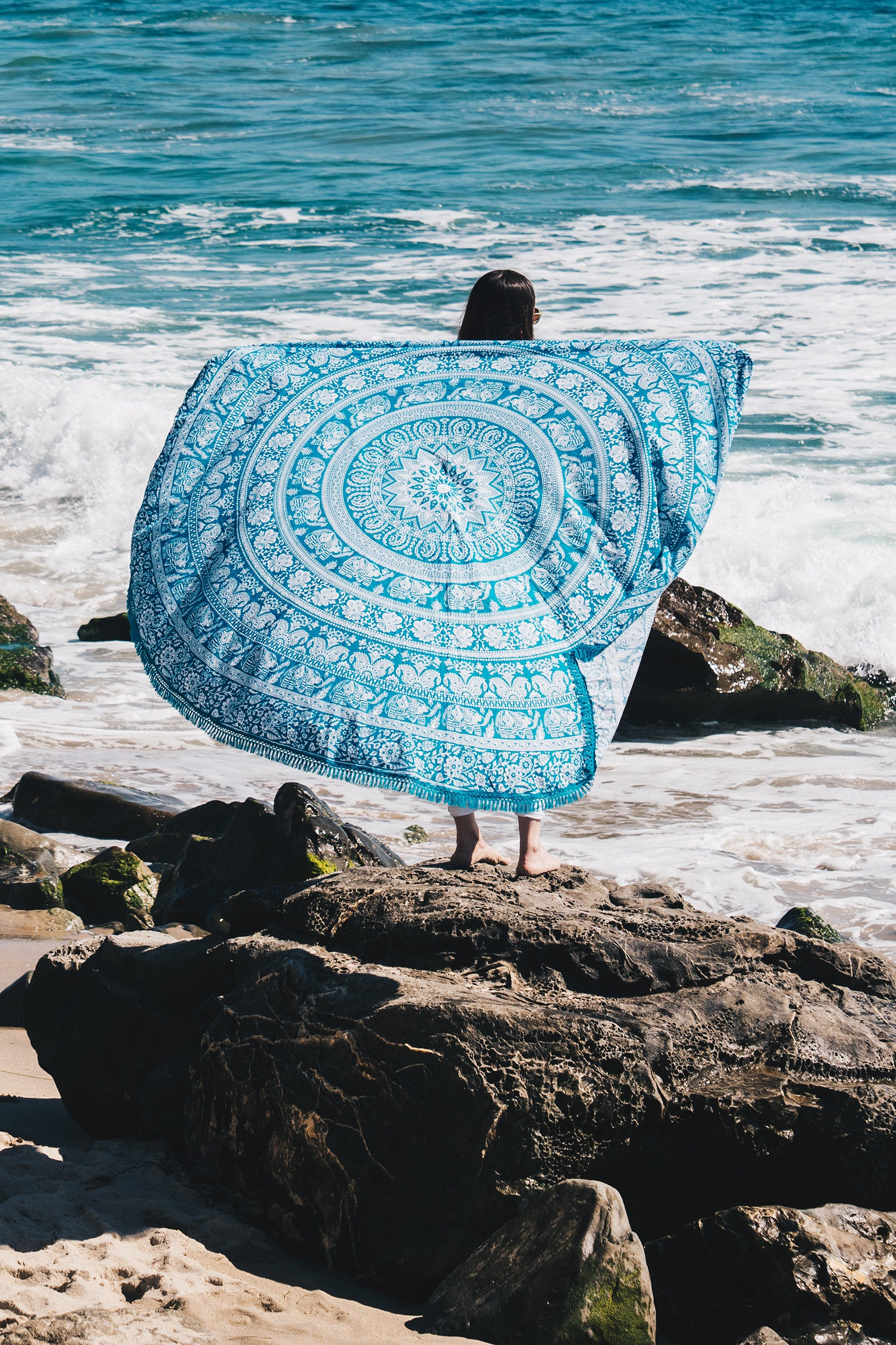 Elephant Mandala Round Beach Throw / Blue