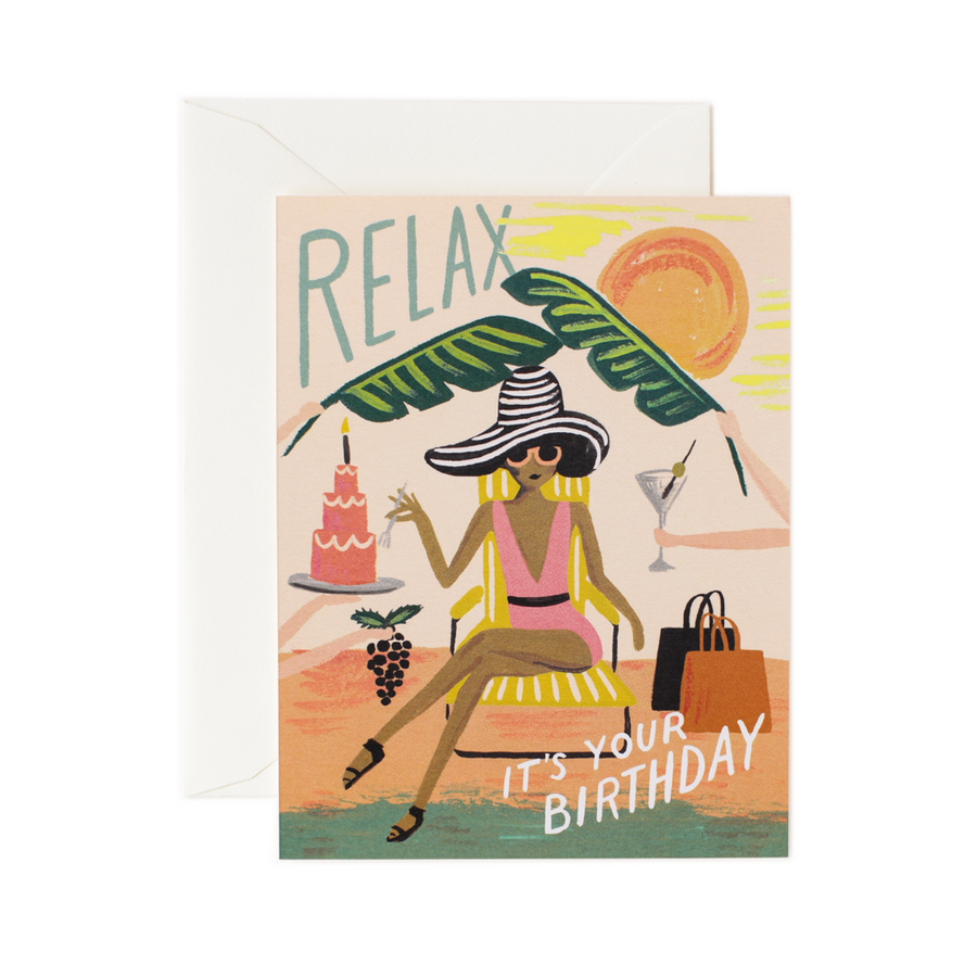 Relax Birthday Card / Ivory Envelope