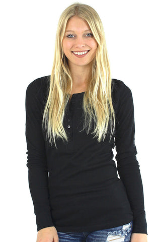 Long Sleeve Button Up Henley Thermal / Black