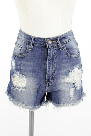 Hi-Rise Torn Denim Short / Medium