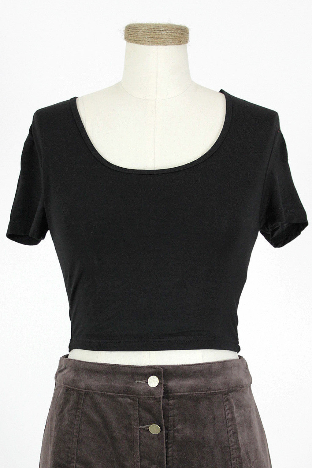 Short Sleeved Crop Top / Black
