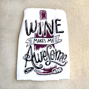 Wine Makes Me Awesome Hand Towel / White