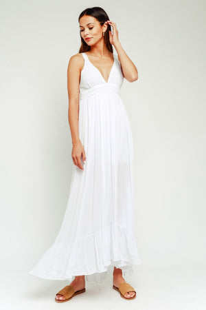 Gauze Empire Maxi Dress / White