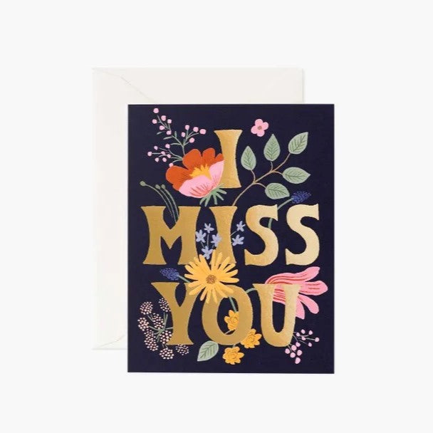 I Miss You Card / Gold Envelope