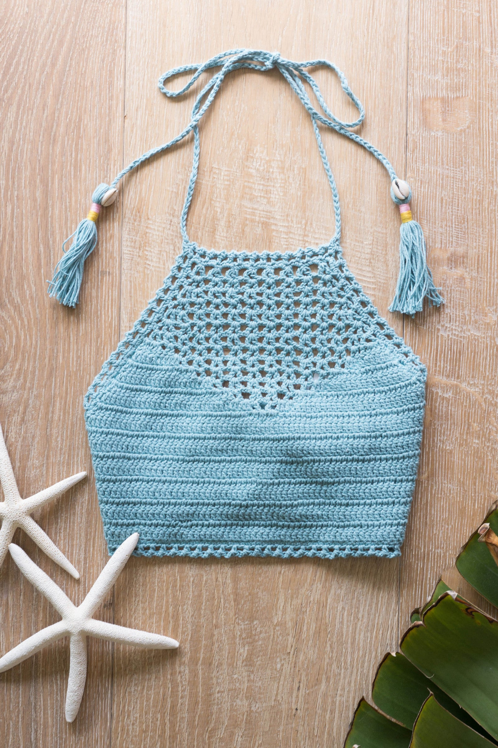 Crochet Puca Shell Tie Crop Top / Mint