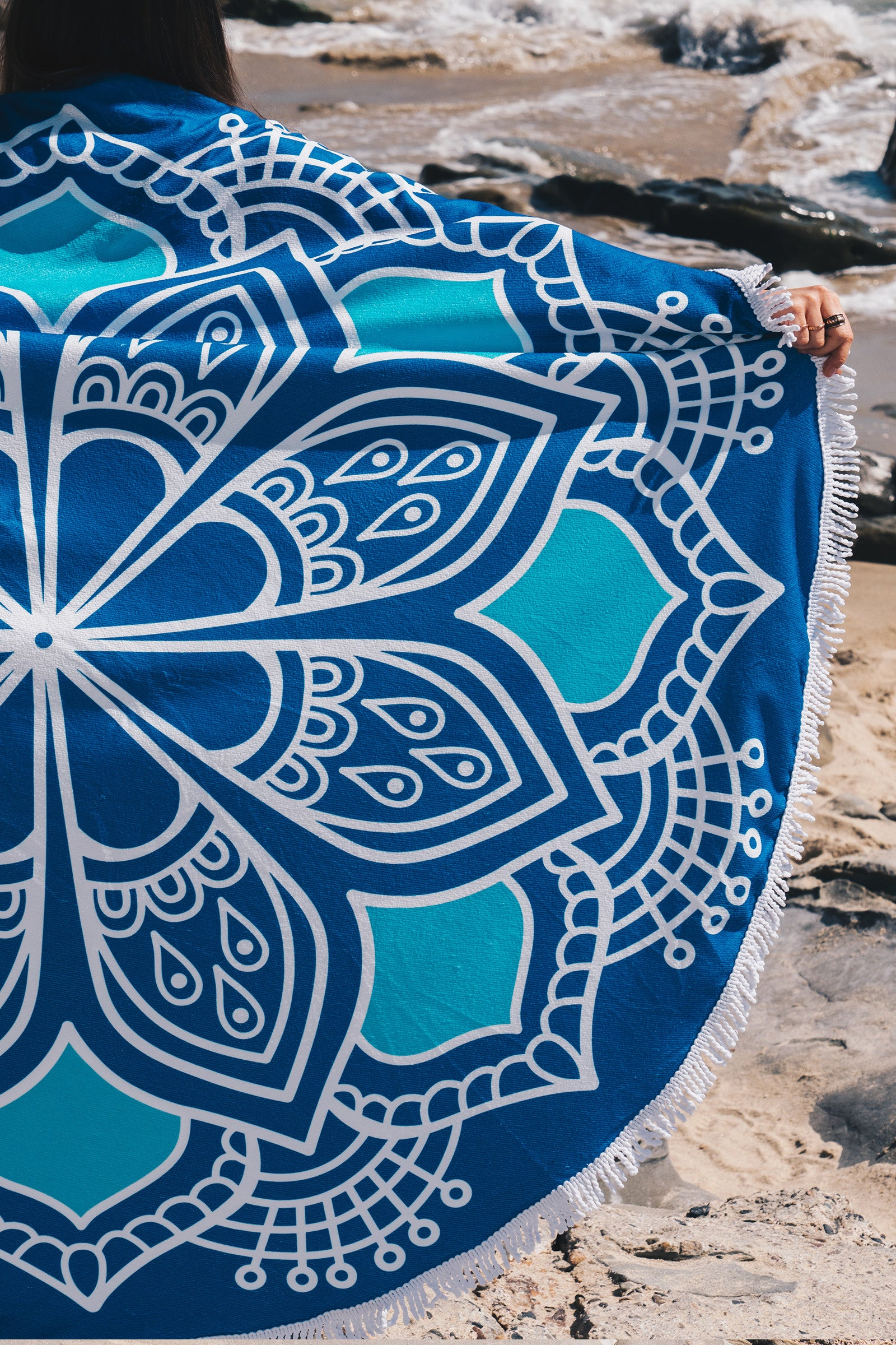 Henna Round Towel / Blue