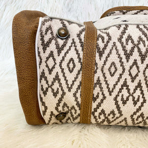 Diamond Tapestry Cow Hide Traveller Bag / Black/Ivory