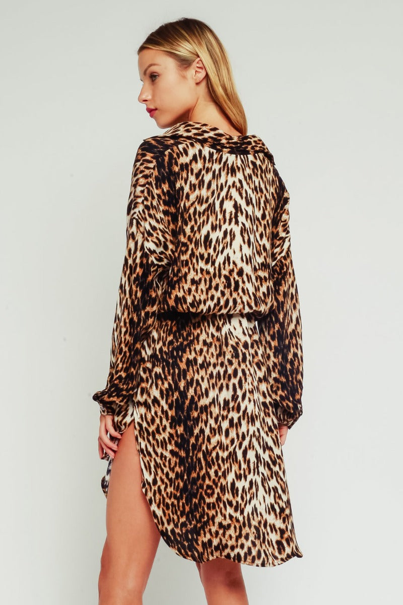 Leopard Long Sleeve Short Dress / Brown