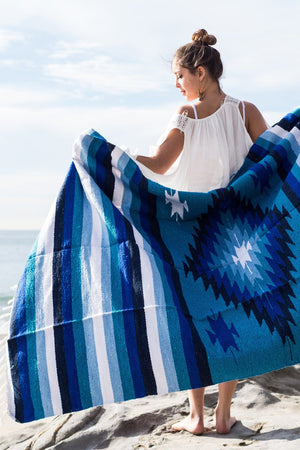 Mexican Indian Diamond Blanket / Blue