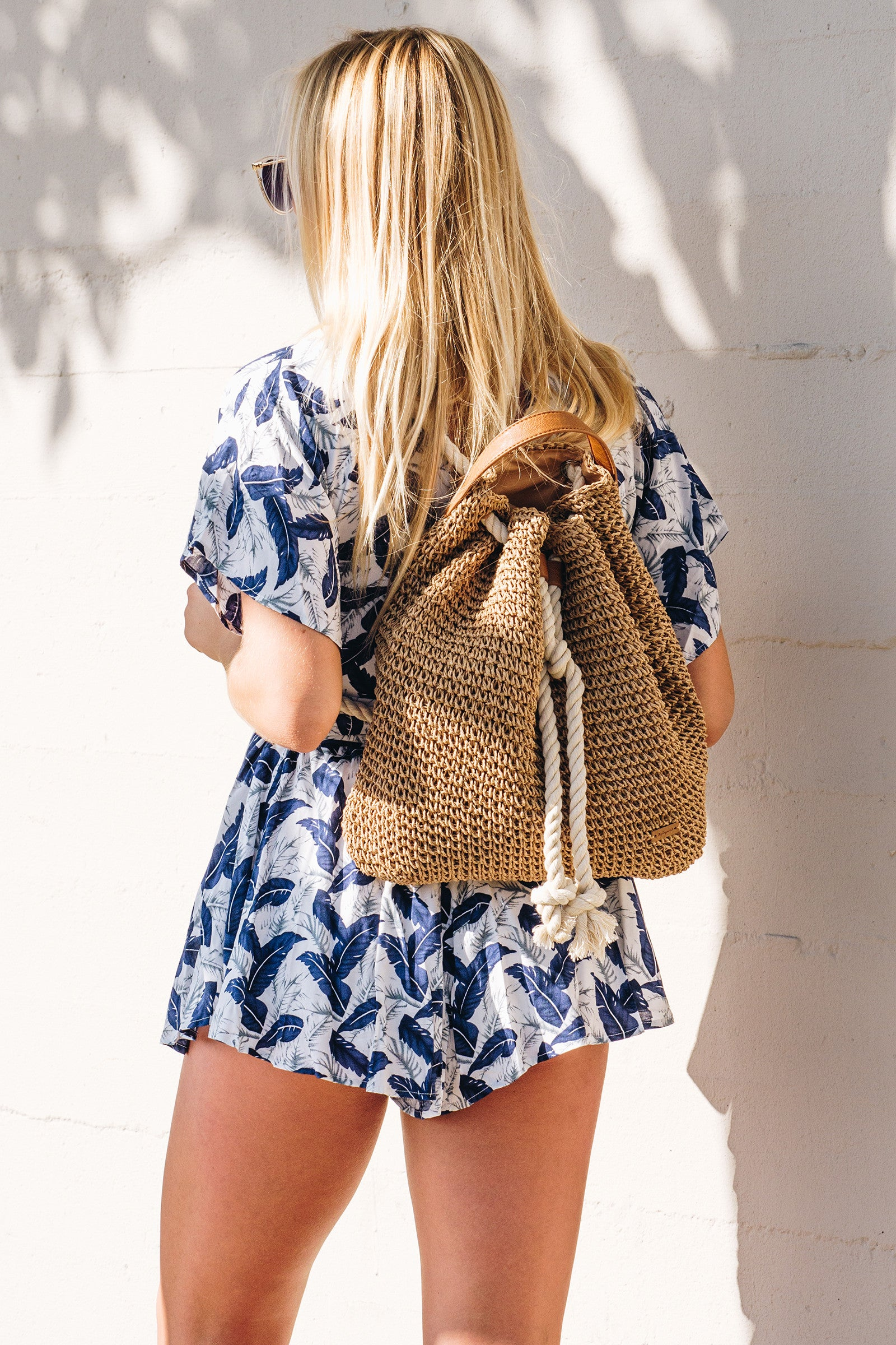 Roped Soft Straw Back Pack / Tan