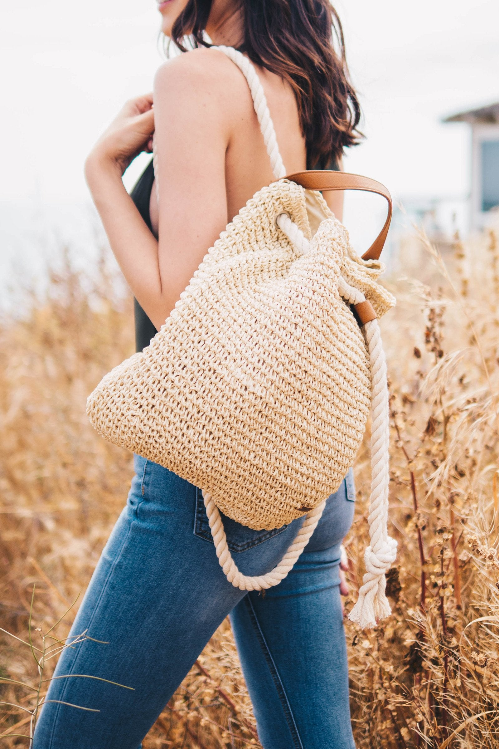 Roped Soft Straw Back Pack / Natural