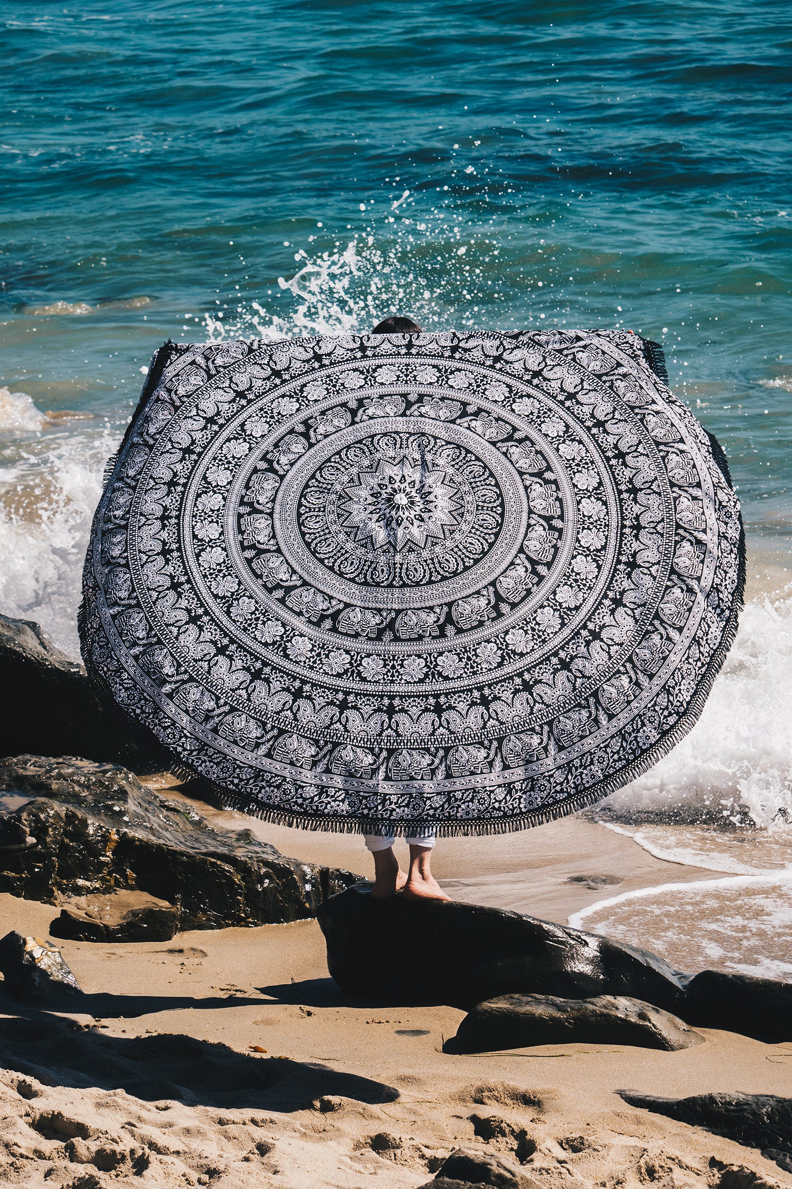 Elephant Mandala Round Beach Throw / Black