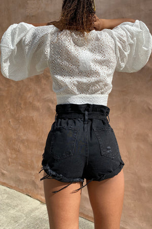 Western Belted Side Roll Denim Short / Black