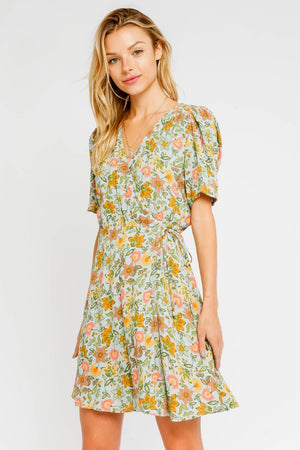 Floral Short Sleeve Wrap Dress / Aqua