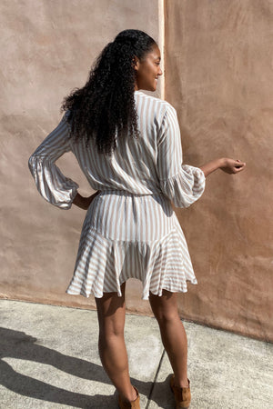 Striped Button Up Long Sleeve Skater Dress / White