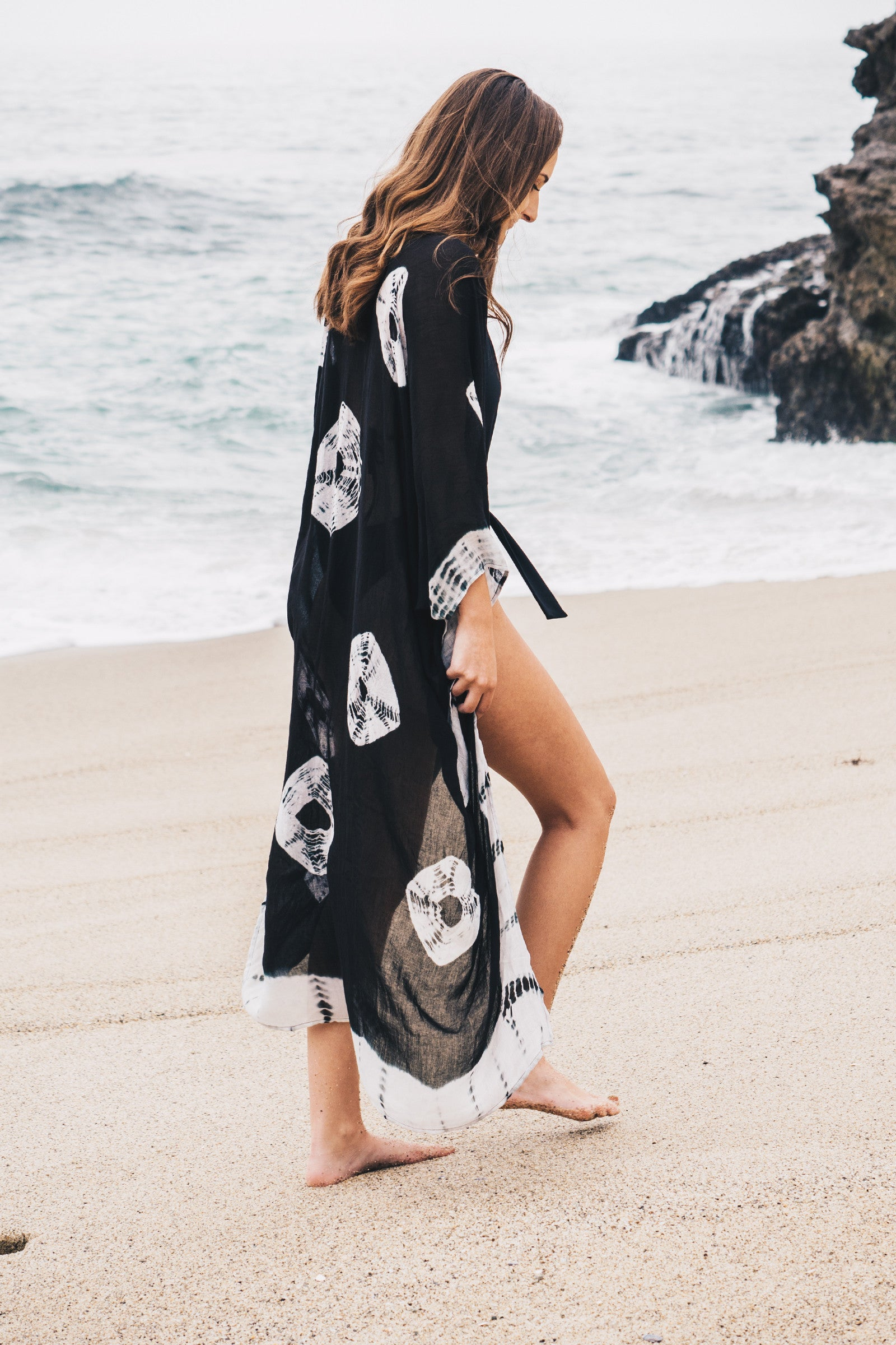 Tie Dye Cardigan Cover Up / Black