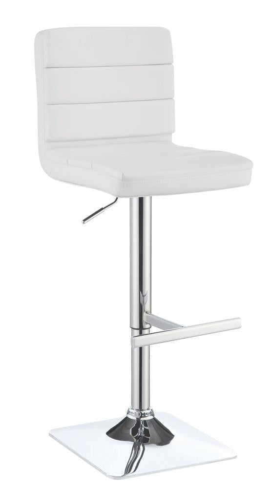 G120694 Contemporary Adjustable White Bar Stool with Chrome Finish image