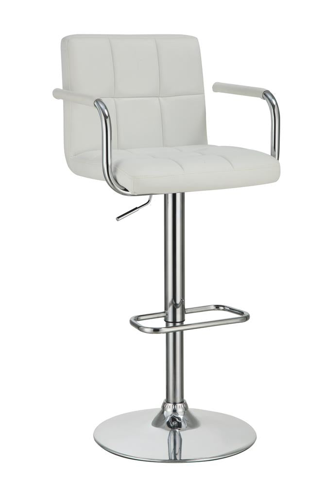G121097 Contemporary White and Chrome Adjustable Bar Stool with Arms image