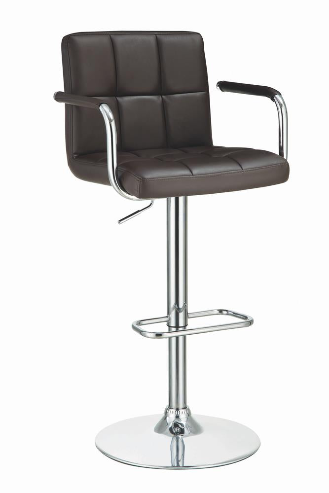G121099 Contemporary Brown Faux Leather and Chrome Adjustable Bar Stool with Arms image