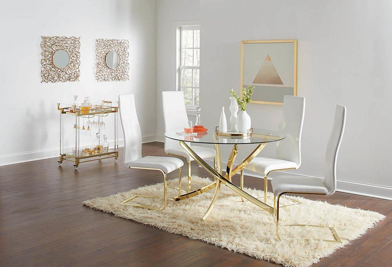 Chanel Modern White and Rustic Brass Side Chair image
