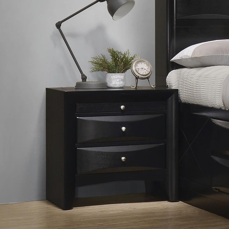 Briana Black Two-Drawer Nightstand With Tray image