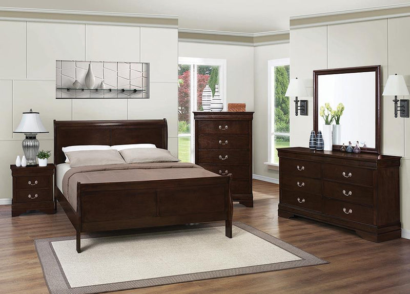 Louis Philippe Traditional Cappuccino King Five-Piece Bedroom Set image