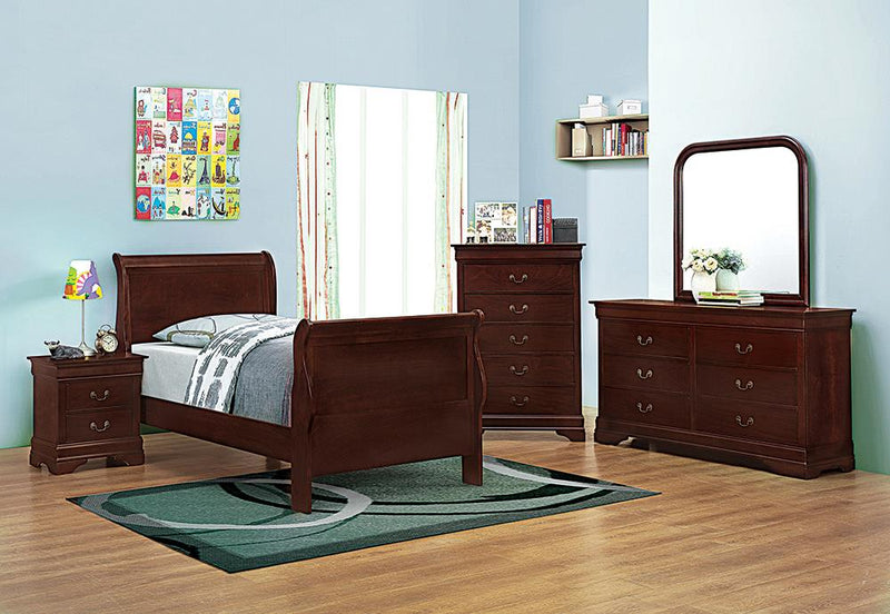 Louis Philippe Traditional Red Brown Twin Four-Piece Set image