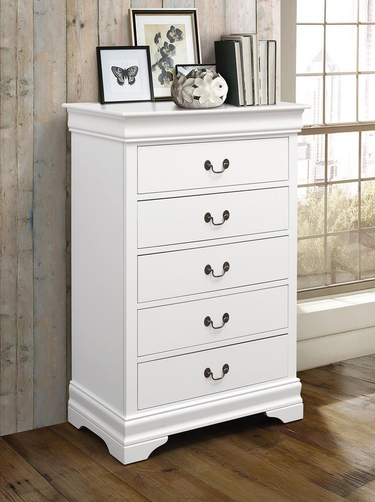 Louis Philippe White Five-Drawer Chest image