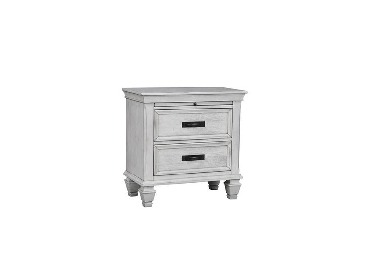 Franco Antique White Two-Drawer Nightstand With Tray image