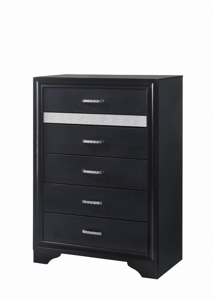 Miranda Transitional Black Five-Drawer Chest image