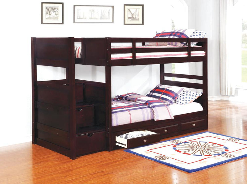 Elliott Transitional Cappuccino Twin-over-Twin Bunk Bed image