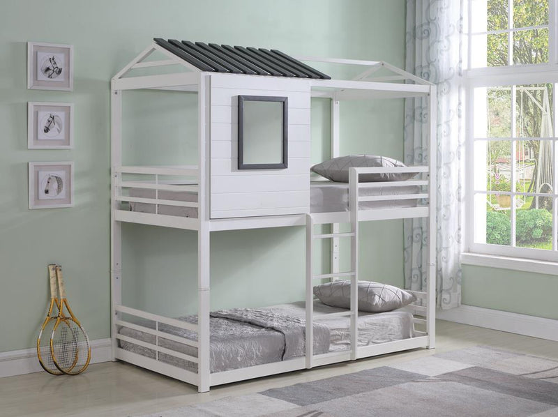 Belton Light Grey Twin-over-Twin Bunk Bed image
