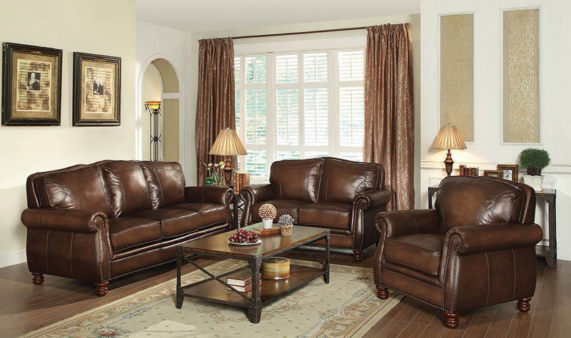 Montbrook Traditional Hand Rubbed Brown Loveseat image