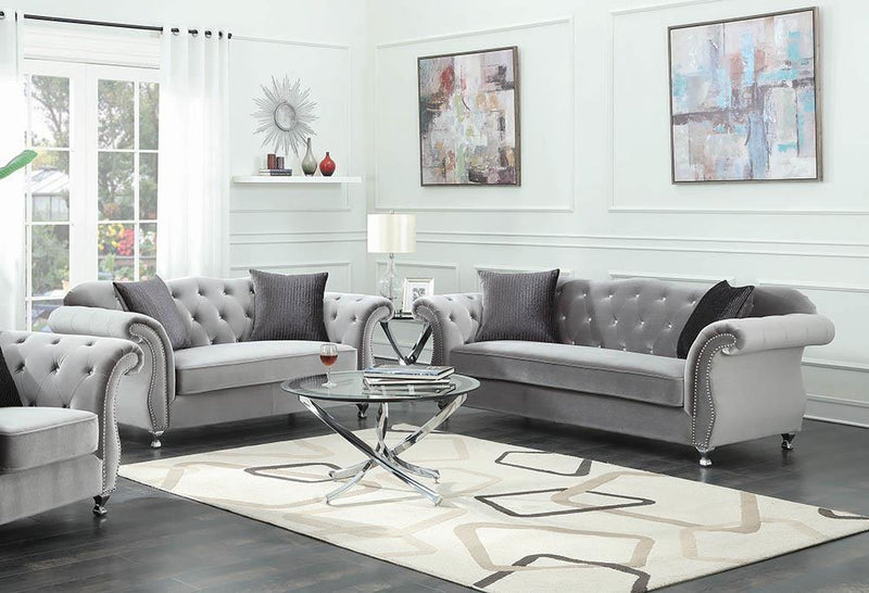 Frostine Grey Two-Piece Living Room Set image