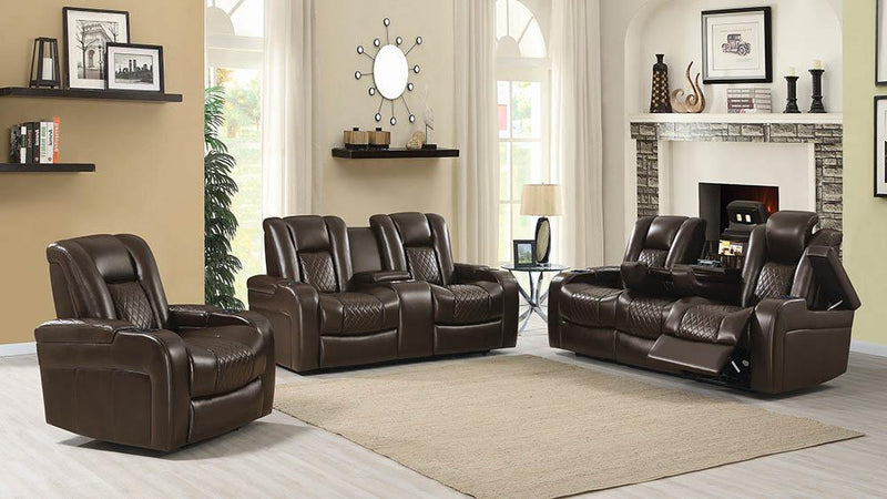 Delangelo Brown Power Motion Three-Piece Living Room Set image