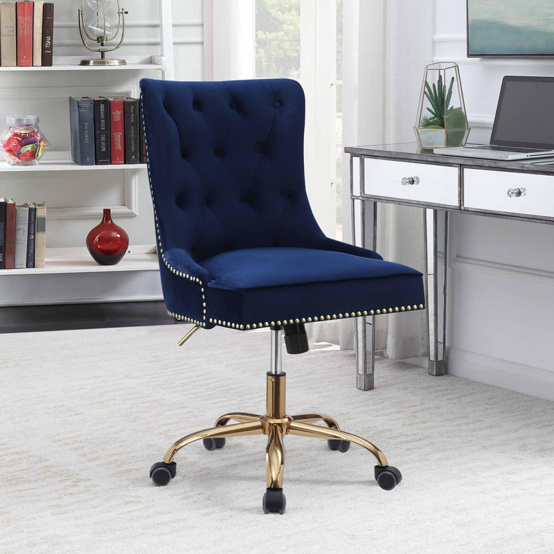 Modern Blue Velvet Office Chair image