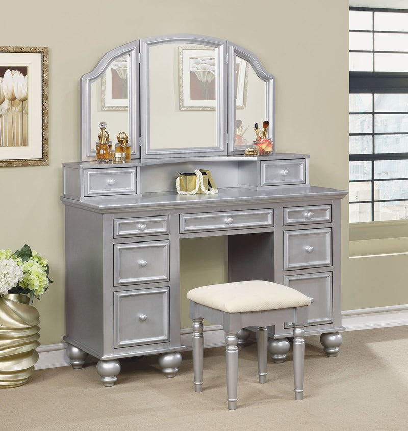 ATHY Silver Vanity w/ Stool image