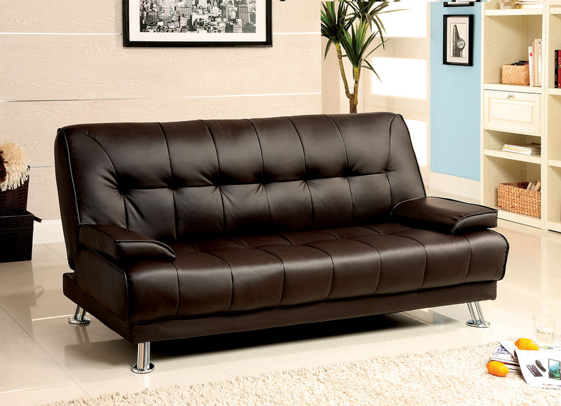 Beaumont Dark Brown/Chrome Leatherette Futon Sofa image