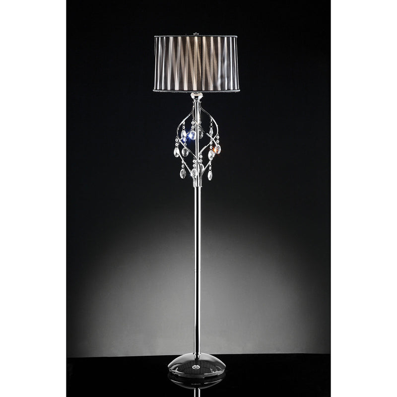 Arya Black/Chrome Floor Lamp, Hanging Crystal image