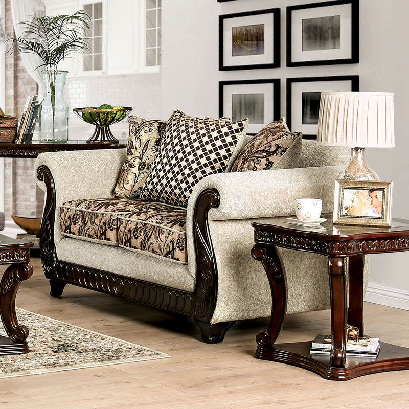 Caldiran Beige/Brown Love Seat image