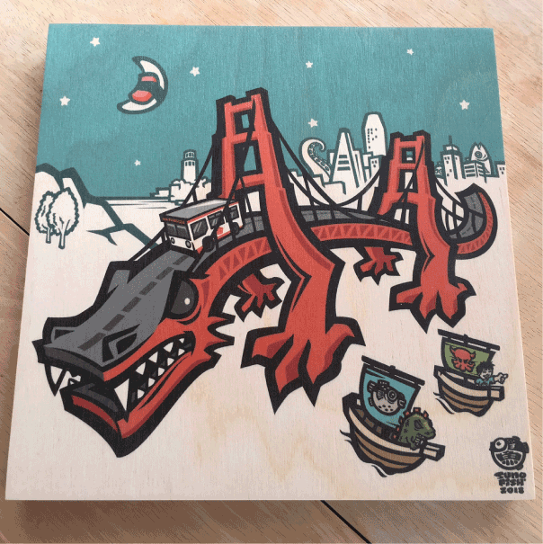 'Golden Gate Dragon' Wood Print