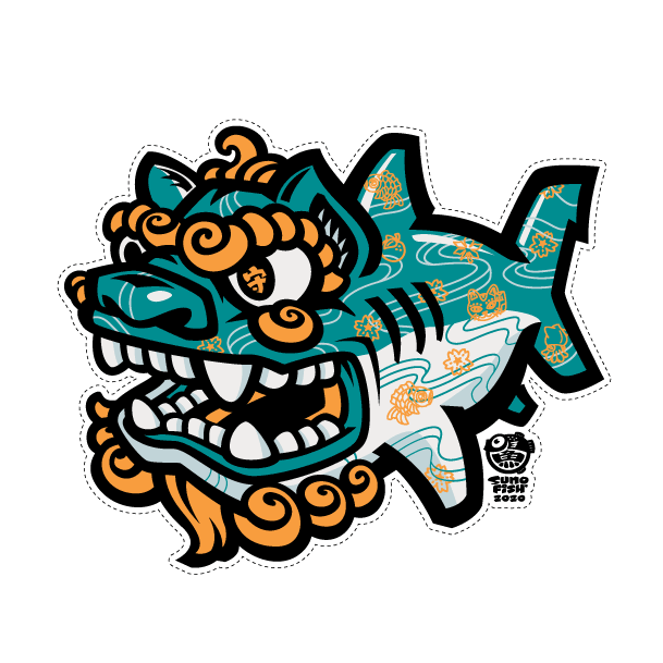 Shisa Shark Bingata Decal