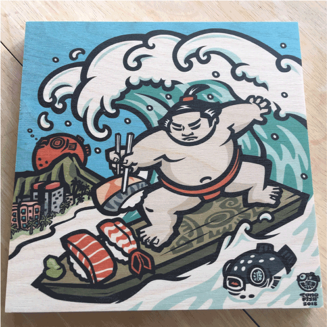'Sushi Surfer' Wood Print